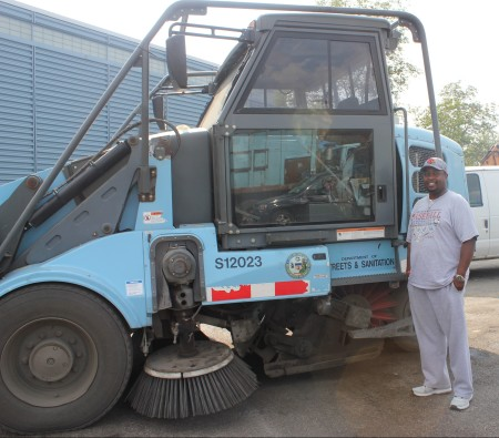 Corey Ray has worked for the Department of Streets and Sanitation for 18 years, helping keep the city streets clean and freshly plowed when it snows.