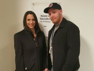 Local 700 Staff Attorney Teresa Abreu and CPS union steward Sean Stifter