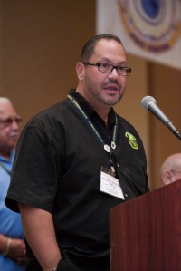 Hector Hernandez speaks at the Teamsters National Hispanic Caucus