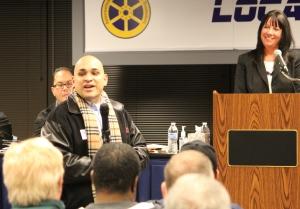 Luis Arroyo, Jr. stops by a General Membership Meeting at Local 700