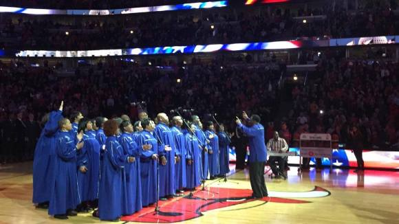 The Chicago Mass Choir performs the National Anthem at a Chicago Bulls game